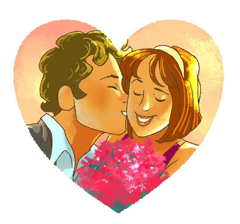 El hombre está besando a la muchacha sonriente con un ramo ilustración del vector