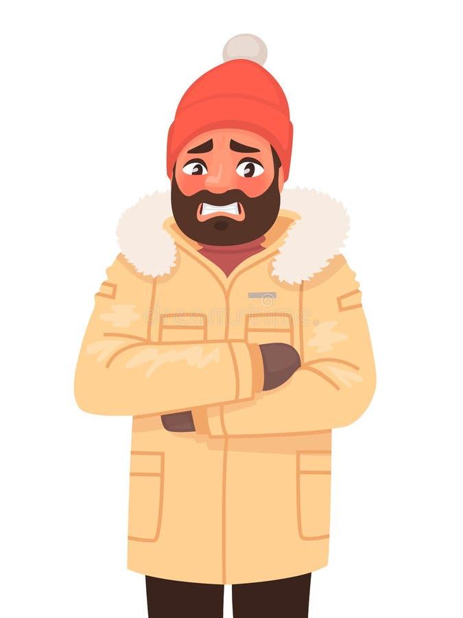 El hombre está congelado y temblando Clima frío Invierno Ilustración del vector stock de ilustración