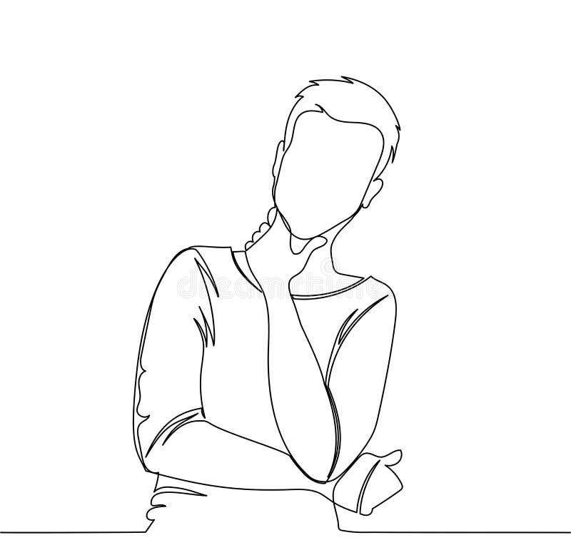 El hombre está pensando hombre - dibujo lineal continuo ilustración del vector