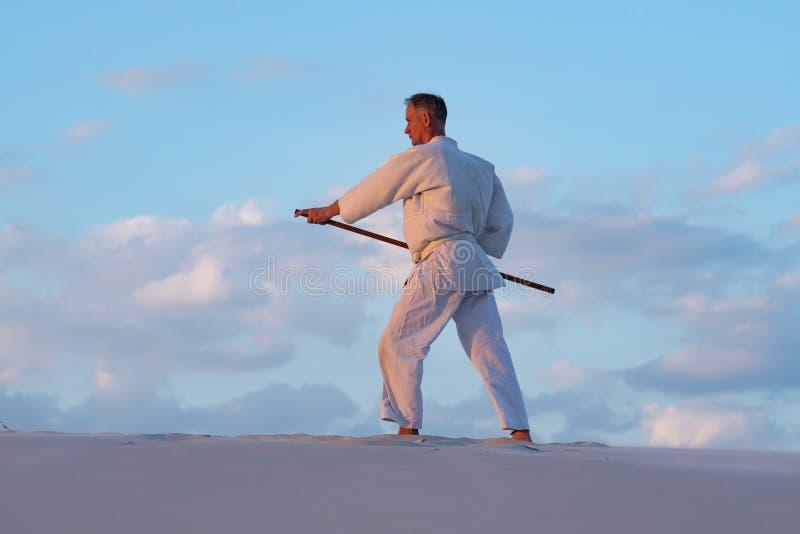 El hombre está practicando artes marciales con un weapo japonés tradicional imágenes de archivo libres de regalías