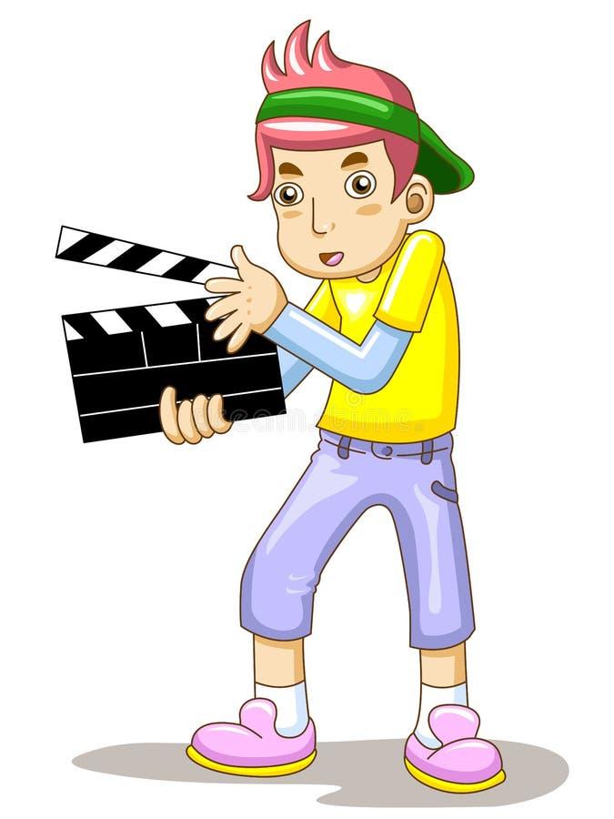 El hombre está sosteniendo una pizarra de la película ilustración del vector