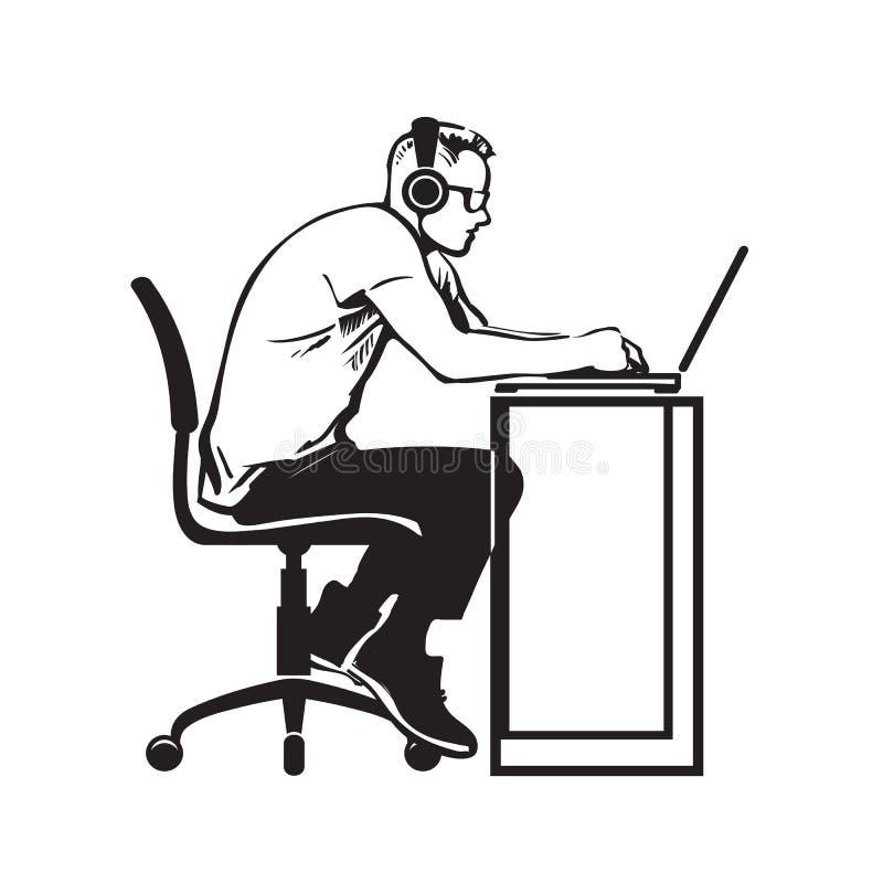 El hombre está trabajando en el ordenador Vector stock de ilustración