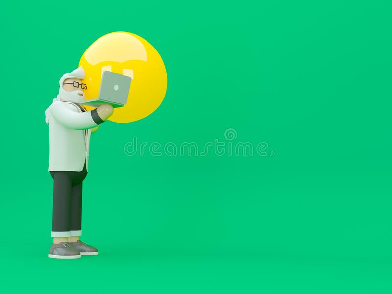 El hombre est? sosteniendo una bombilla enorme y est? sacudiendo las manos con un hombre de negocios con la cartera 3d rinden la  fotografía de archivo libre de regalías