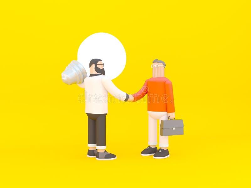 El hombre est? sosteniendo una bombilla enorme y est? sacudiendo las manos con un hombre de negocios con la cartera 3d rinden la  fotos de archivo libres de regalías