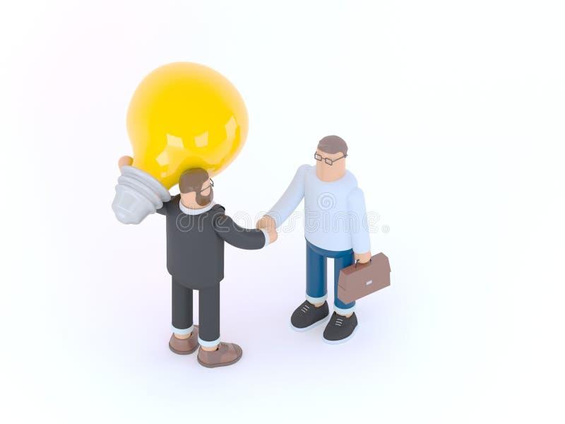 El hombre est? sosteniendo una bombilla enorme y est? sacudiendo las manos con un hombre de negocios con la cartera 3d rinden la  imagen de archivo