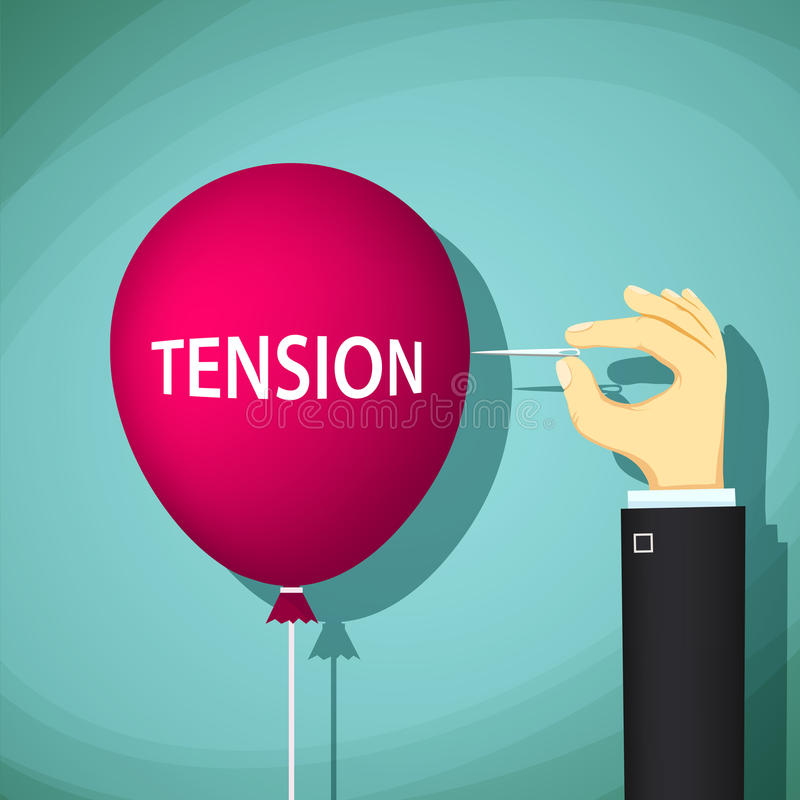 El hombre estalla el globo rojo de la aguja con la tensión de palabra Vector común libre illustration