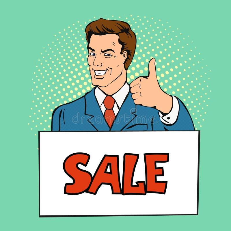 El hombre feliz del hombre de negocios muestra el pulgar para arriba, ejemplo del vector de la bandera de la venta del control en stock de ilustración