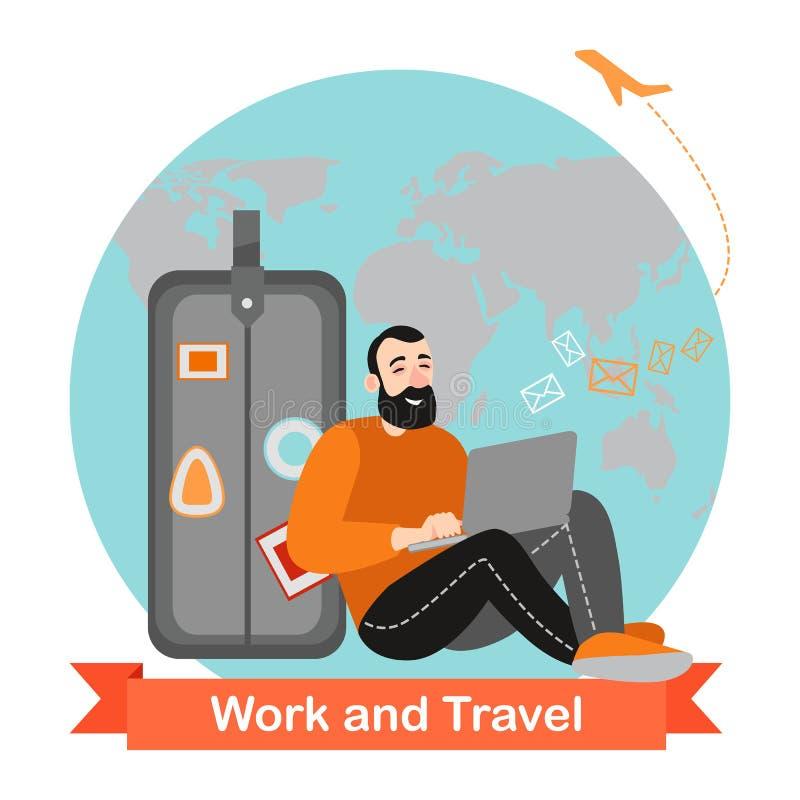 El hombre feliz es que viaja y de trabajo en línea Personaje de dibujos animados divertido stock de ilustración