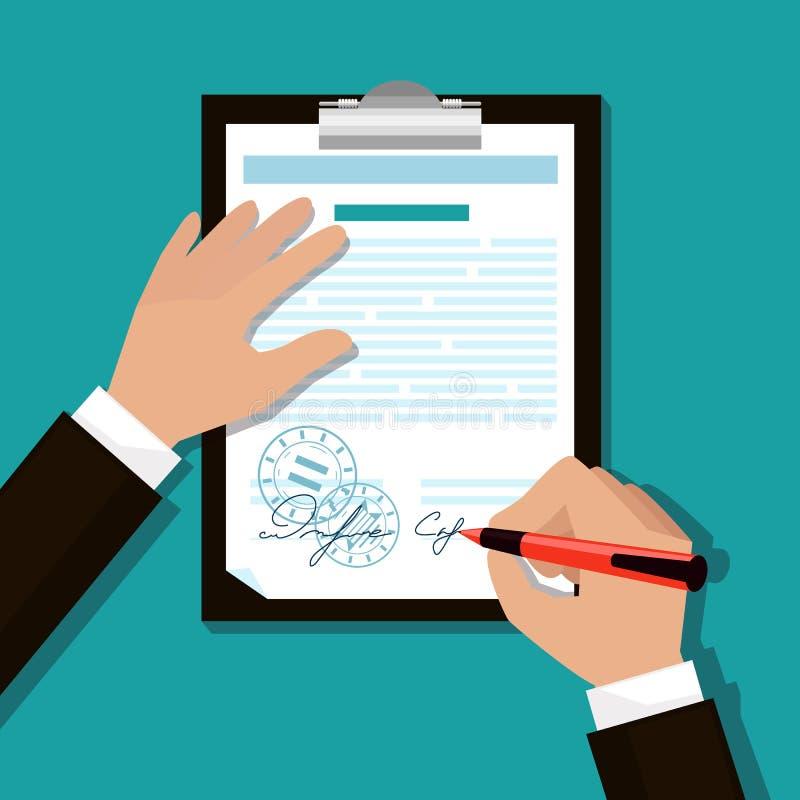 El hombre firma documentos ilustración del vector