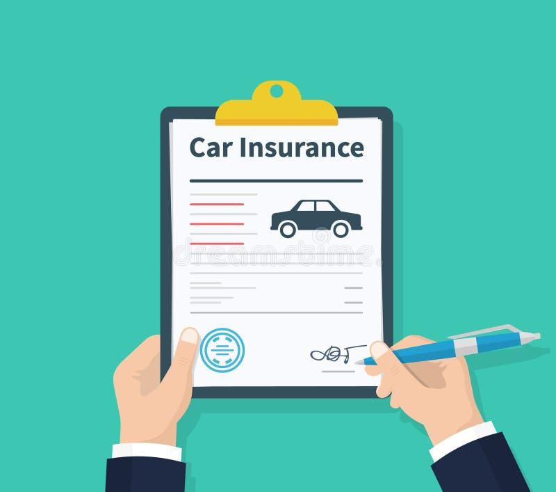 El hombre firma un seguro auto del documento jurídico Forma de demanda Propiedad de la protección del coche Forma del seguro de c ilustración del vector