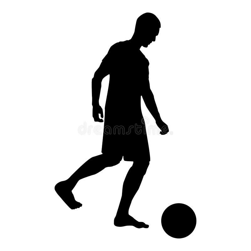 El hombre golpea al jugador de fútbol de la silueta con el pie de la bola que golpea el ejemplo de color con el pie del negro del ilustración del vector
