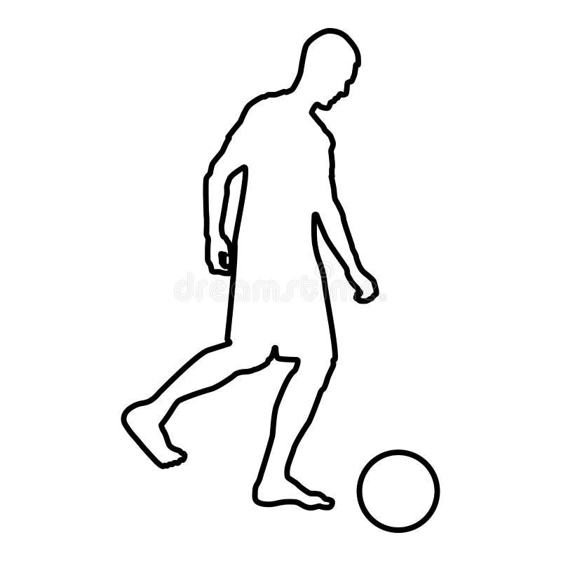El hombre golpea al jugador de fútbol de la silueta con el pie de la bola que golpea el esquema del ejemplo con el pie de color d stock de ilustración