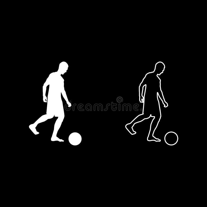 El hombre golpea al jugador de fútbol de la silueta con el pie de la bola que golpea la bola con el pie que el icono de la vista  libre illustration