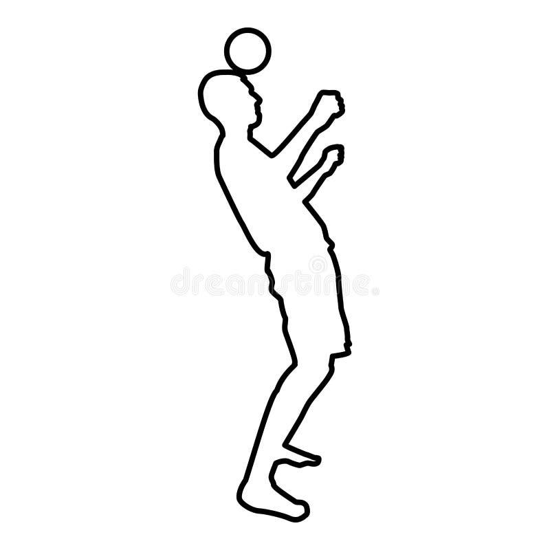 El hombre golpea la bola con el pie en la cabeza Bola de los golpecitos del jugador de fútbol con su truco que hace juegos malaba ilustración del vector