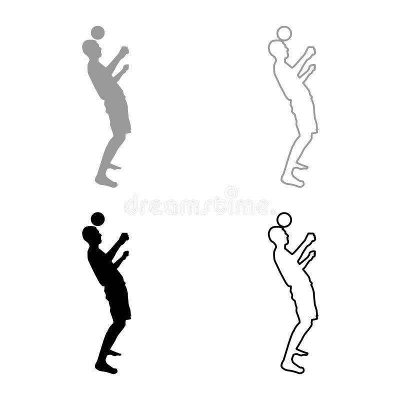 El hombre golpea la bola con el pie en la cabeza Bola de los golpecitos del jugador de fútbol con su truco que hace juegos malaba libre illustration
