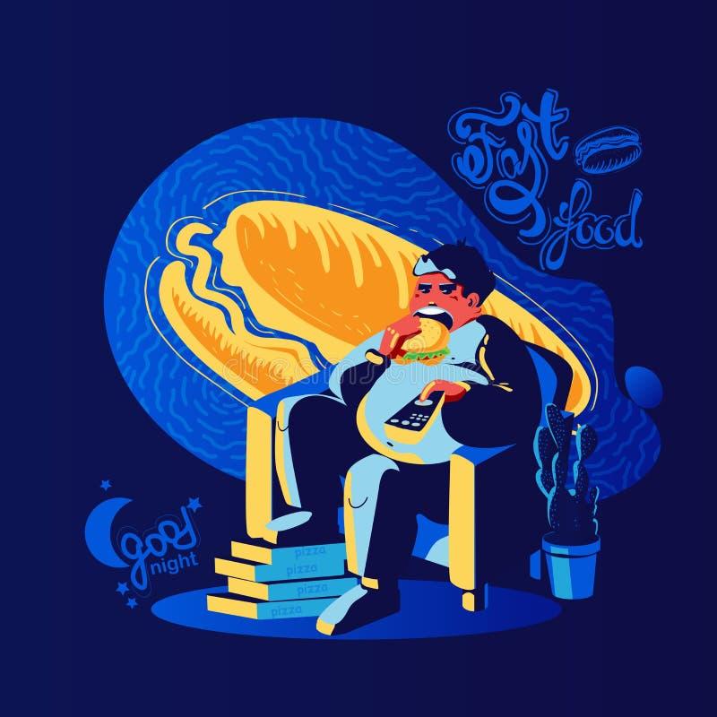 El hombre gordo come el perrito caliente en la noche, foog rápido de las buenas noches ilustración del vector