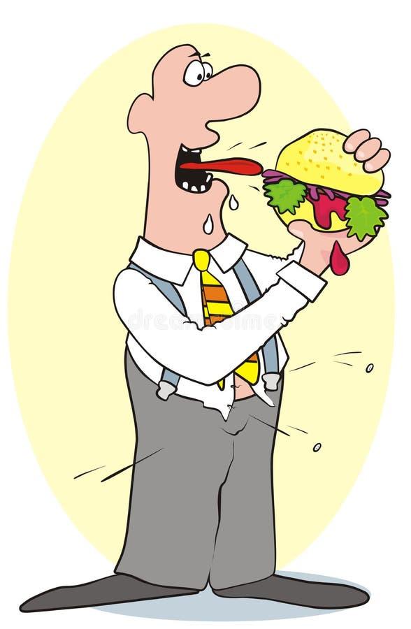 El hombre y la hamburguesa gordos ilustración del vector