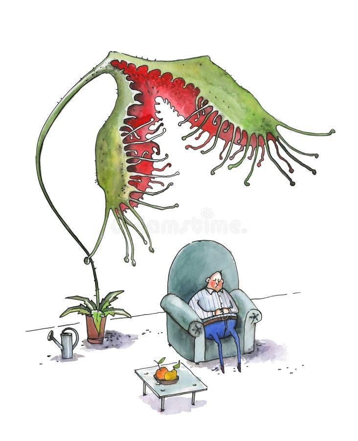 El hombre gordo duerme en una butaca azul grande Una drosera de la flor intenta comer a un hombre Ilustraci?n chistosa watercolor ilustración del vector