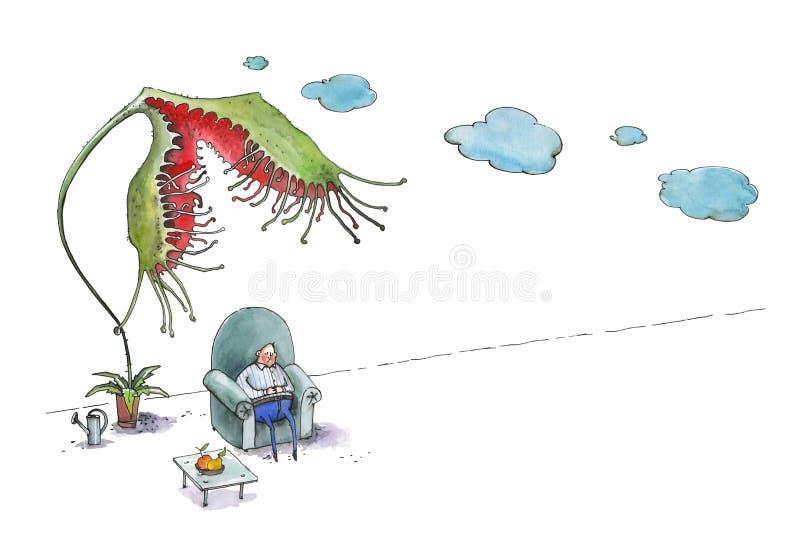 El hombre gordo duerme en una butaca azul grande Un rotundifoliaw del Drosera de la flor intenta comer a un hombre Ilustraci?n ch ilustración del vector