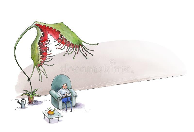 El hombre gordo duerme en una butaca azul grande Un rotundifoliaw del Drosera de la flor intenta comer a un hombre Ilustraci?n ch libre illustration