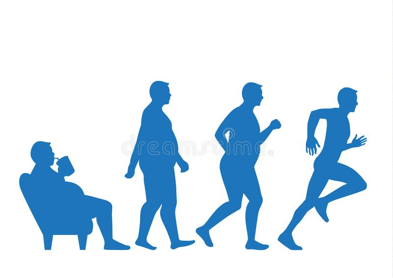 El hombre gordo sale del sofá y cambia a la forma delgada con funcionamiento stock de ilustración