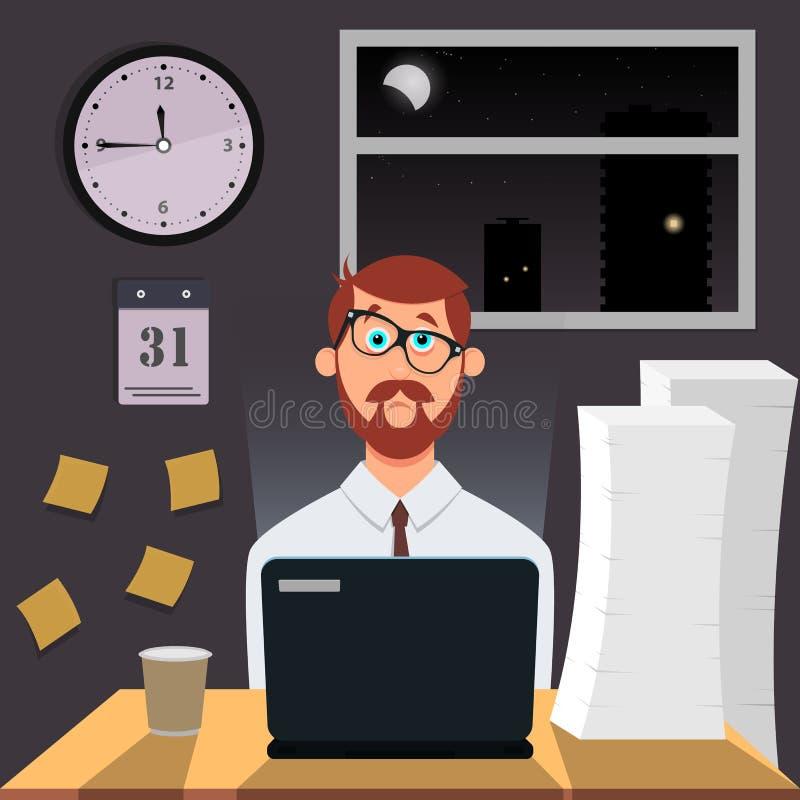El hombre graciosamente cansado trabaja en la noche en el ordenador portátil En las horas, el calendario y las etiquetas engomada ilustración del vector