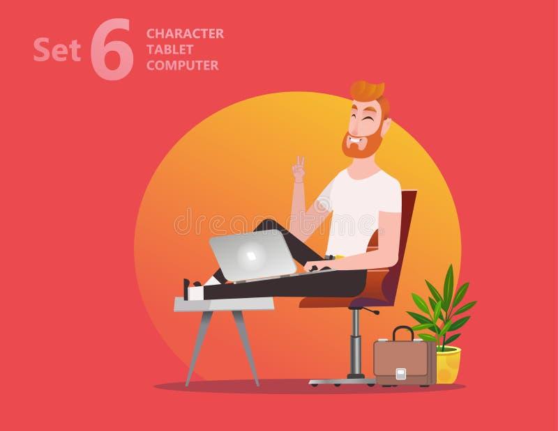 El hombre hermoso del diseñador está trabajando en su ordenador portátil stock de ilustración
