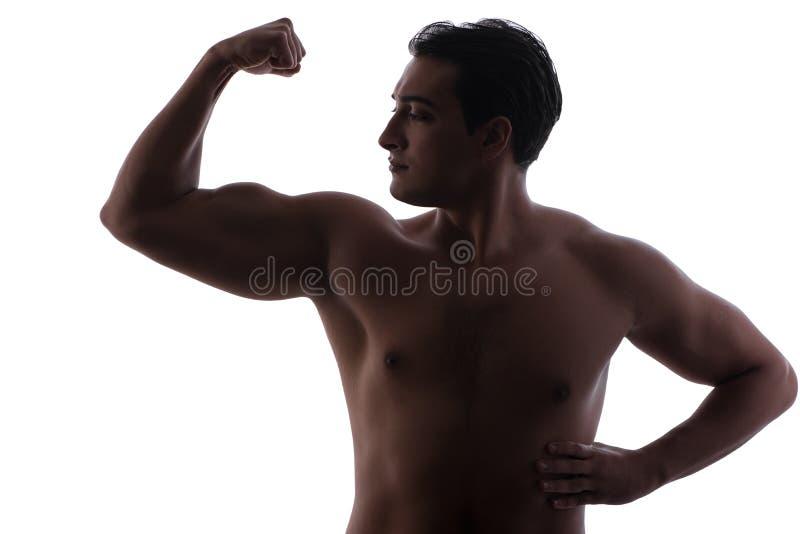 El hombre hermoso que dobla sus músculos en blanco imagenes de archivo