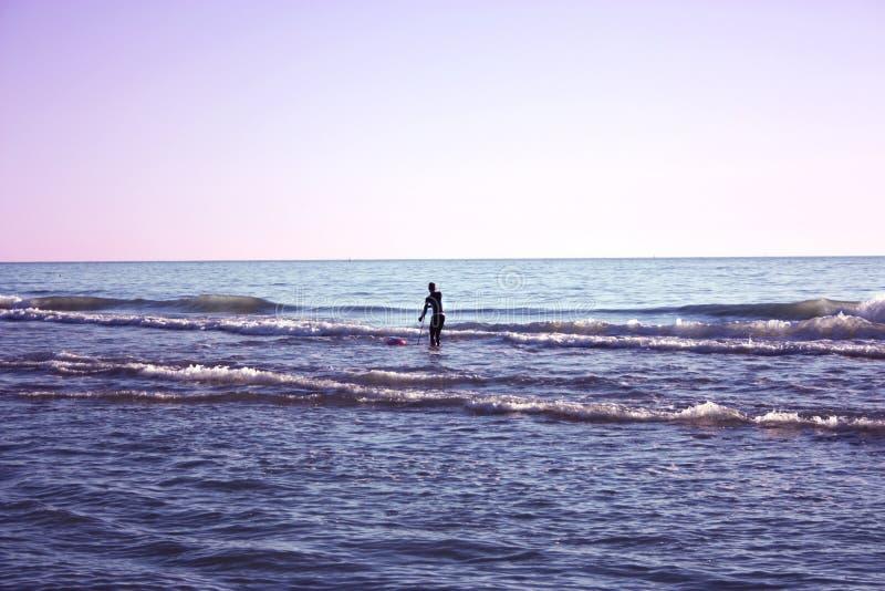 El hombre hundió en la pesca en mar y recoge tellines o las almejas u otros mariscos en un día de invierno foto de archivo libre de regalías