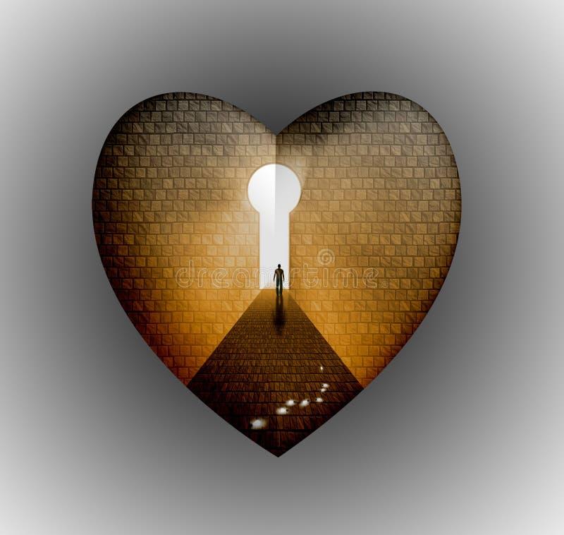 El hombre incorpora el corazón del clave stock de ilustración