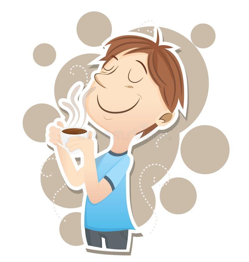 El hombre inhala el olor del café ilustración del vector