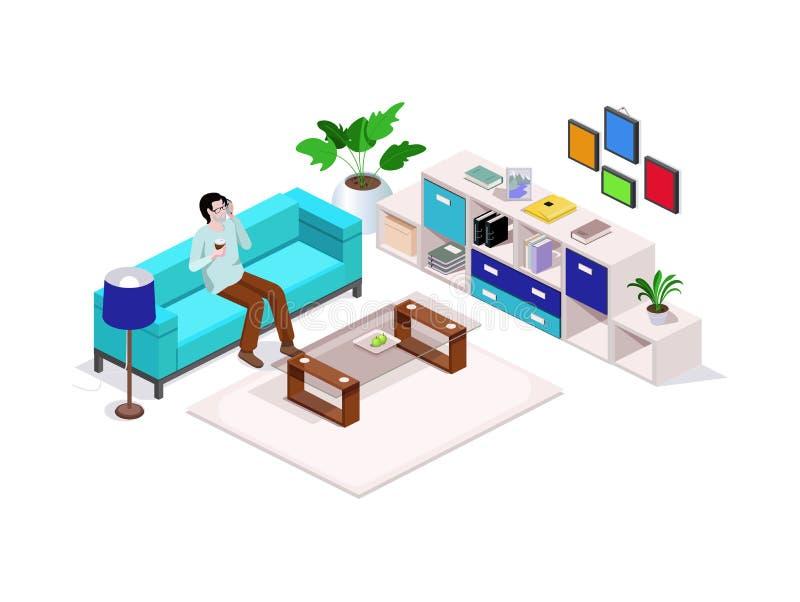 el hombre isométrico de la composición 3d que se sienta en el sofá y que habla en el teléfono, alrededor de los muebles interiore fotos de archivo libres de regalías