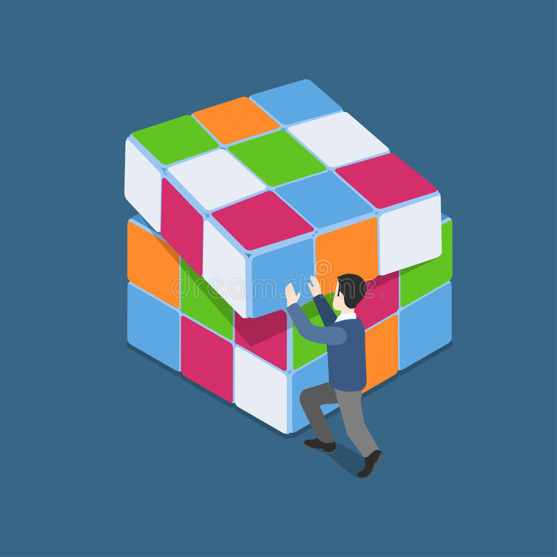 El hombre isométrico del web plano 3d juega con el concepto del rompecabezas del cubo de Rubik libre illustration