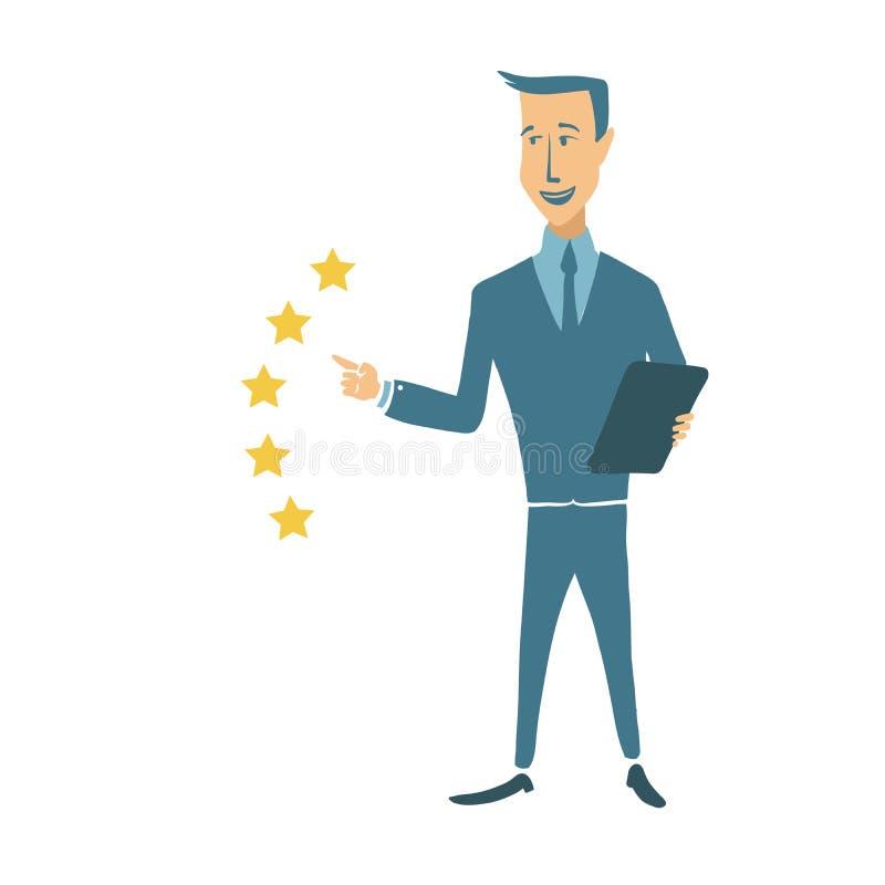 El hombre joven aprecia el servicio en una escala en cinco puntos Un grado de cinco estrellas Concepto en el tema de la evaluació stock de ilustración