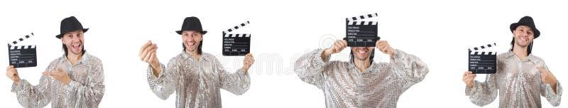El hombre joven con el chapaleta-tablero aislado en blanco imagen de archivo