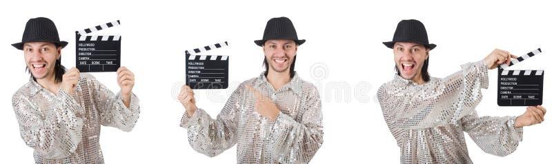 El hombre joven con el chapaleta-tablero aislado en blanco imagenes de archivo