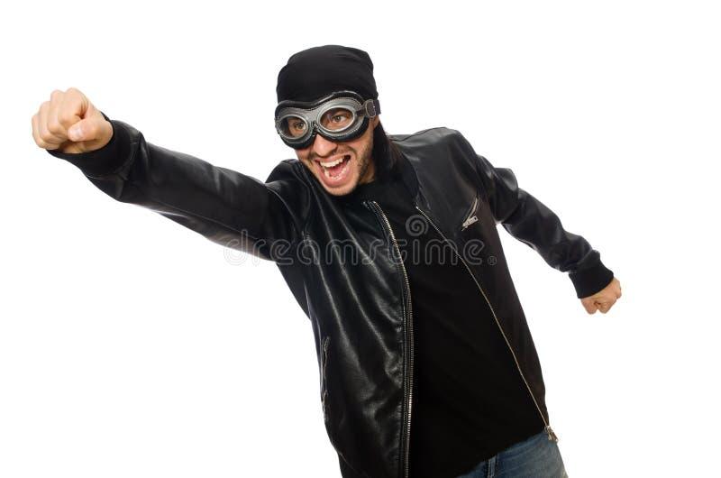 El hombre joven con los vidrios del aviador en blanco imagen de archivo