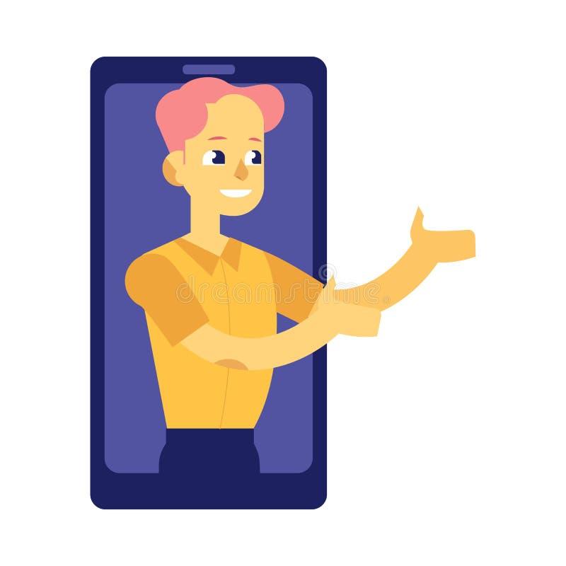 El hombre joven de la pantalla del smartphone amplió sus brazos para coger algo o para ayudar libre illustration