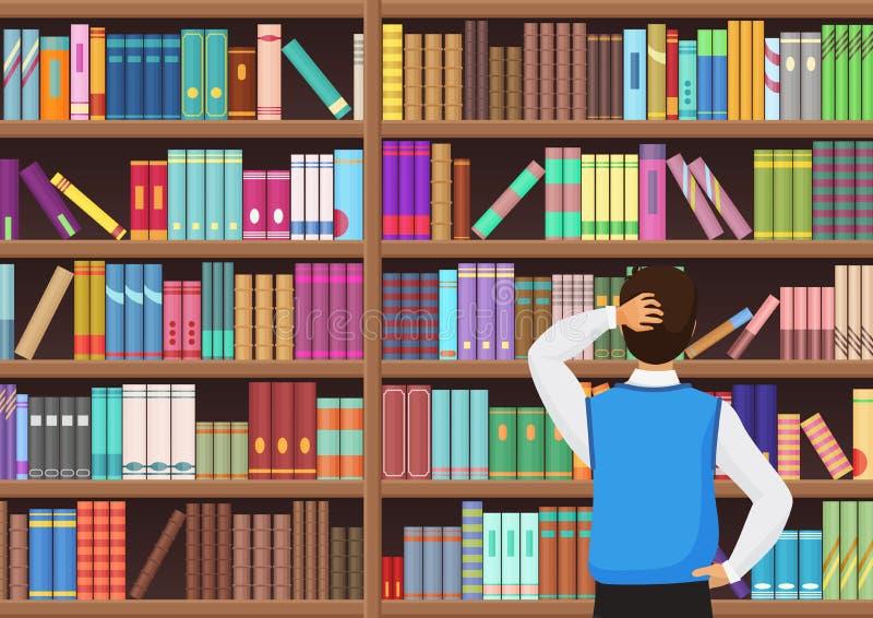 el hombre joven elige un libro en la biblioteca ejemplo del vectror ilustración del vector