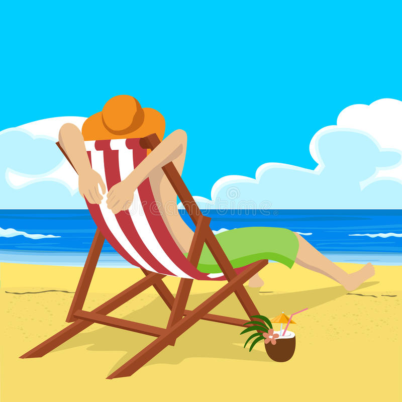 El hombre joven en el sombrero de paja que se sienta en silla de cubierta en la playa tropical mira en la distancia libre illustration