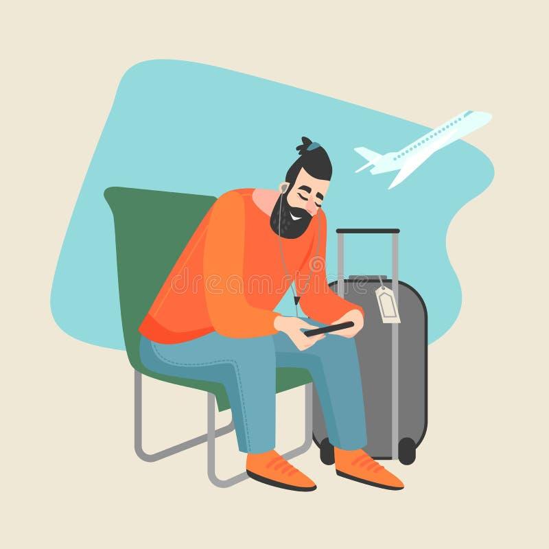 El hombre joven escucha la música y las miradas en el smartphone mientras que se sienta en el aeropuerto ilustración del vector