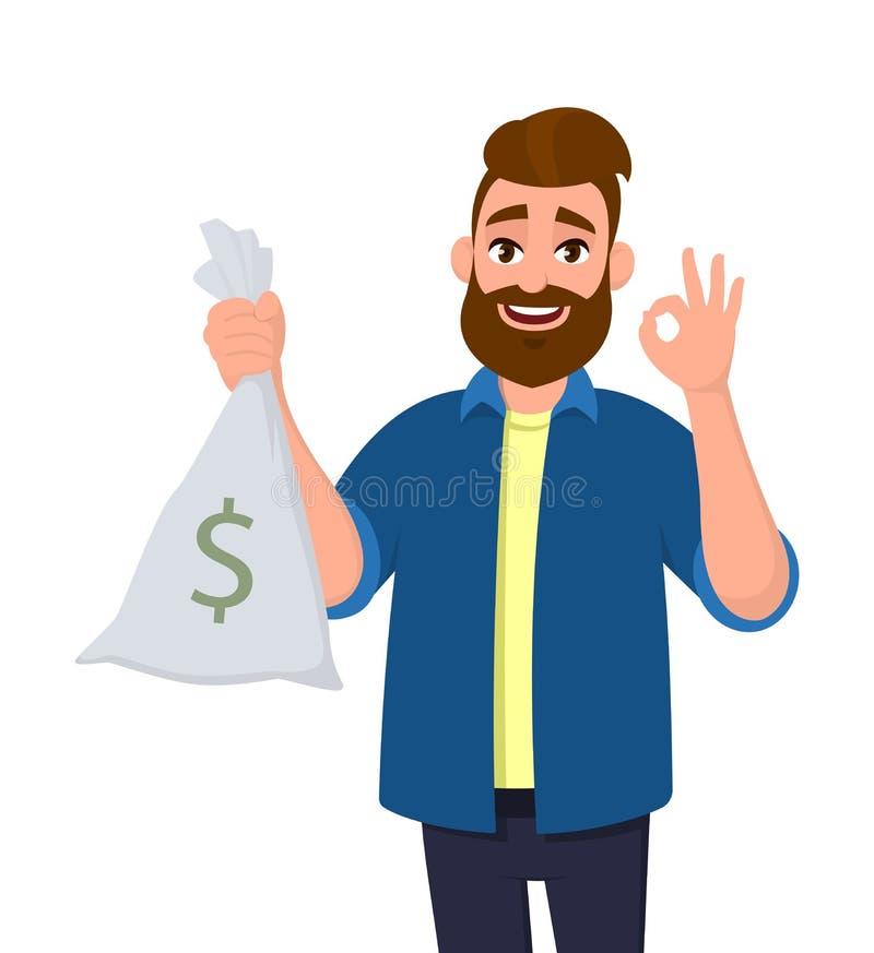 El hombre joven feliz está sosteniendo el dinero, bolso del efectivo a disposición y está gesticulando la autorización o AUTORIZA libre illustration