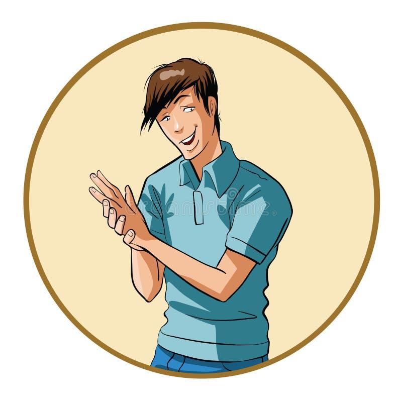 El hombre joven frota sus manos libre illustration