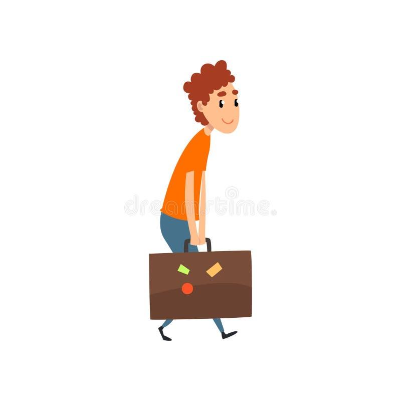 El hombre joven que lleva una maleta pesada, gente que viaja en historieta del concepto de las vacaciones vector el ejemplo en un ilustración del vector