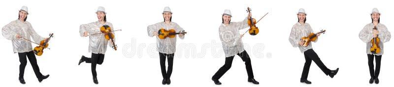 El hombre joven que toca el violín aislado en blanco imagenes de archivo