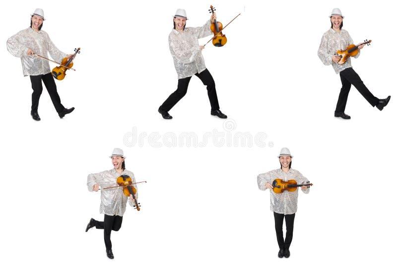 El hombre joven que toca el violín aislado en blanco fotografía de archivo libre de regalías