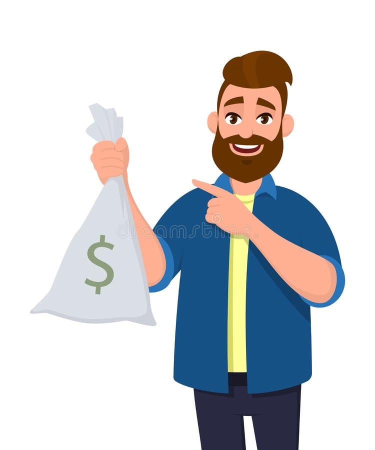 El hombre joven rico y acertado está sosteniendo el dinero, bolso del efectivo a disposición y está señalando el dedo índice de l stock de ilustración