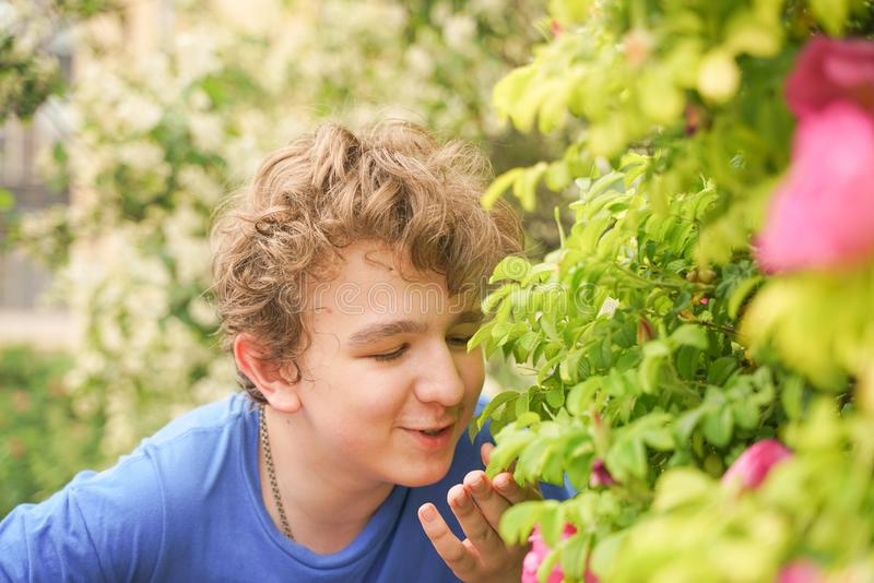 El hombre joven se coloca entre las flores y disfruta de verano y de florecimiento imágenes de archivo libres de regalías