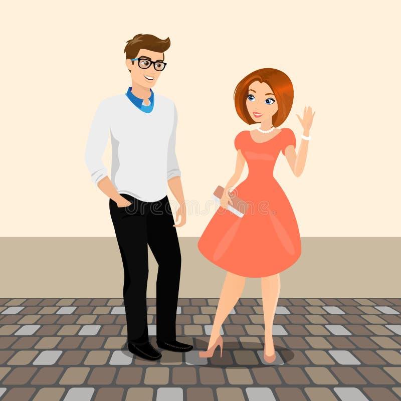 El hombre joven y la mujer se encuentran en la calle para tener una fecha ilustración del vector