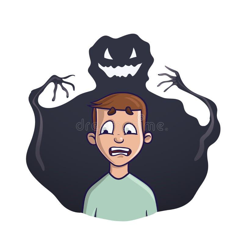 El hombre joven y el monstruo de la sombra detrás de él Vector el ejemplo en el tema del insomnio, pesadillas, miedos stock de ilustración